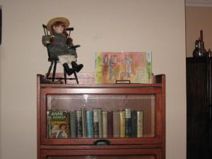 The bookshelf that holds all of my older versions.  They no longer fit on one shelf!