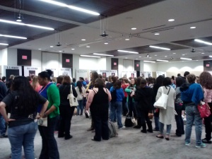 Just one room of the signing lines.  I chose to buy pre-sigend books and left the fun of standing in line to the teens.